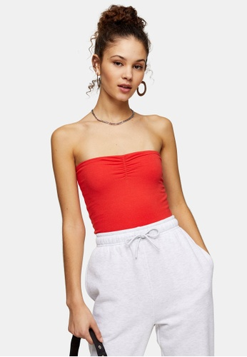 TOPSHOP red Red Ruched Bandeau Top 2A47EAA044A312GS_1