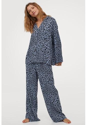 H&M blue Pyjama Shirt And Bottom 777ADAA00382D9GS_1