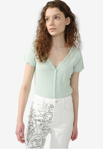 PIMKIE green Lettuce Trim Button Ribbed Top 95FDAAA175FF16GS_1