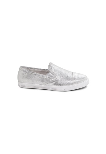 prettyFIT silver Silver Textured Metallic Cowhide Slip-On Sneakers ADDF9SH29286C3GS_1