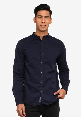 SUPERDRY navy Classic Twill Lite Grandad Shirt 88AA9AADA3AA4CGS_1