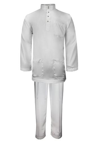 Pacolino white Baju Melayu Cekak Musang with pants - BM003 (White) 2A032AA08A54D4GS_1