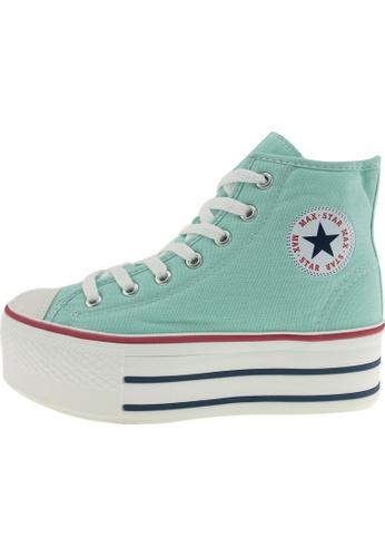 Maxstar 綠色 新款韩国鞋C50-7H時尚帆布布混合女浅蓝色 US Women Size MA345SH27GWATW_1