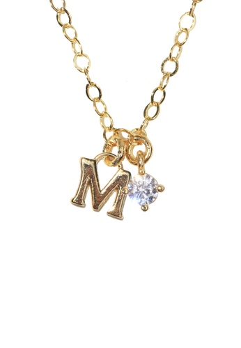 PSYNDROME gold Personalised Initial Letter Alphabet with Cubic Zircona Necklace - M 11D01AC3F7C4A0GS_1