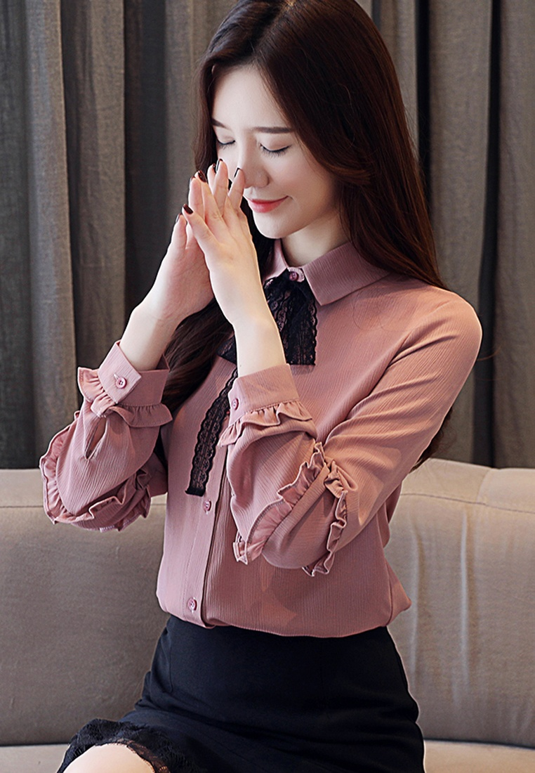 Blouses Pink Sleeves Long Halo OL tvqCzz