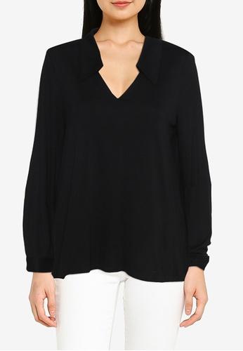ZALORA BASICS black Oversized Collar Blouse 2DB2DAA35BD0FDGS_1