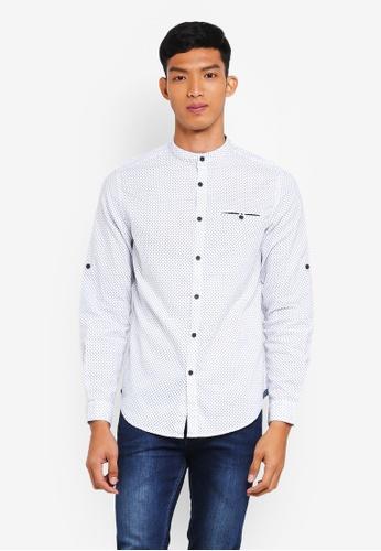 OVS white Linen Mandarin Collar Shirts 35A2DAAC8682CFGS_1