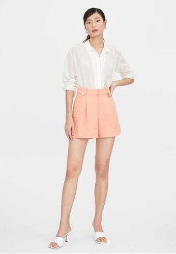 Pomelo orange Double Seashell Button Pleated Shorts - Orange 650E2AA688DBECGS_1