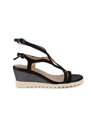 MAUD FRIZON black Glitter Leather Wedge Sandals MA153SH08YCDHK_1