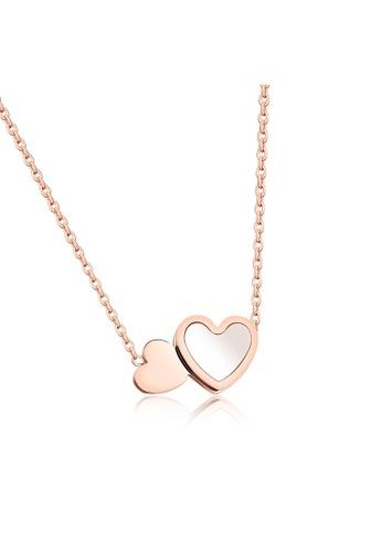 YOUNIQ YOUNIQ AMOR Love 18K Rosegold Double Happiness Heart Titanium Steel Necklace with White Pearl Shell 64E11ACC3657ACGS_1