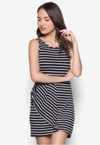 條紋裹式連身裙zalora 評價, 服飾, 服飾