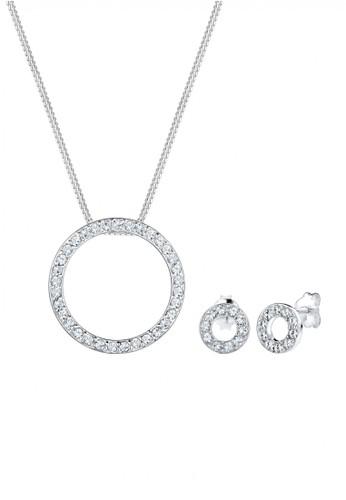Elli Germany silver Perhiasan Wanita Perak Asli-Silver Hoop Swarovski® Crystal Set Silver 8D79AAC7691731GS_1