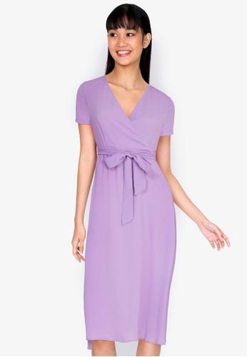 ZALORA BASICS purple V-Neck Midi Wrap Dress 2B2D4AA92610E3GS_1