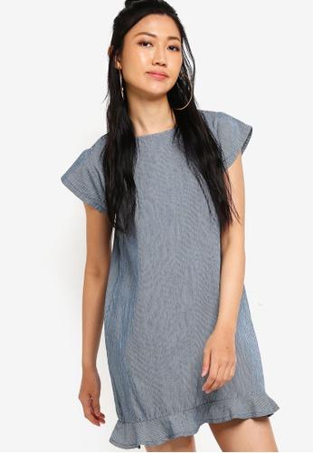 Something Borrowed blue Fluted Hem Denim Dress 1CDD5AAB6E6C66GS_1