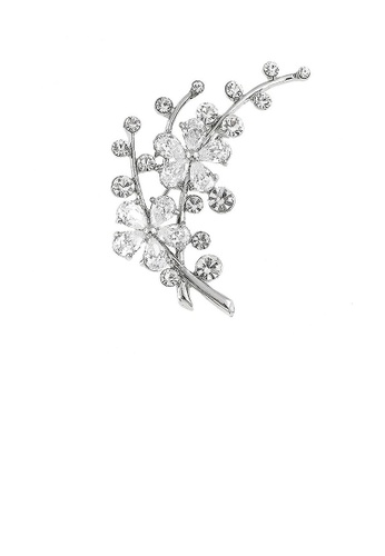 Glamorousky silver Dazzling Flower Brooch with Silver Austrian Element Crystal and CZ 7D383AC254B8E8GS_1