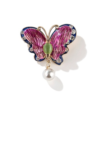 Glamorousky white Fashion and Elegant Plated Gold Enamel Color Butterfly Imitation Pearl Brooch with Cubic Zirconia 28E4EACC344863GS_1
