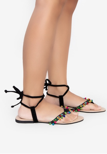 Mishka black Yueng Flat Strappy Sandals 20D52SH2A89F42GS_1