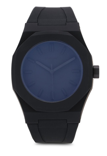 D1 Milano black Monochrome Watch Black With Rubber Strap Watch 39506AC4E224EEGS_1