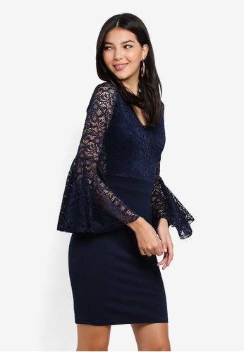 WALG navy Contrast Lace Dress With Fluted Long Sleeve 45C6BAA1BE0109GS_1