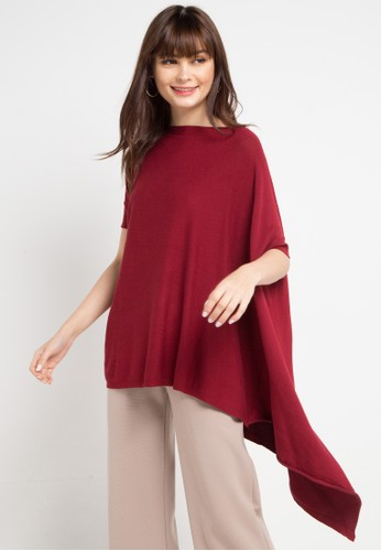 Uptown Girl red Asym Knit Blouse 673B2AA47D3BBBGS_1