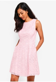 a412085bd821 ZALORA BASICS pink Basic Fit And Flare Lace Dress 23EA1AA8C0D915GS_1