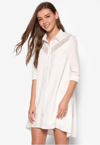 ZALORA white Love Lace Insert Shirt Dress ARIQDAA0000080GS_1