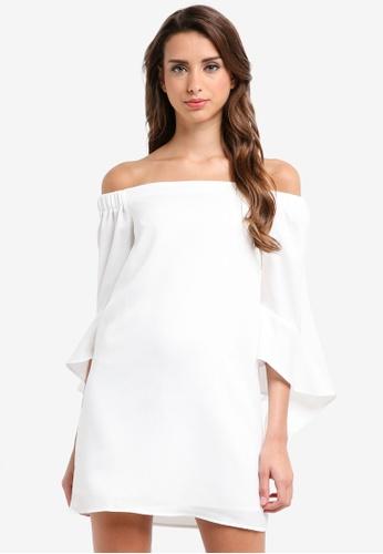MISSGUIDED white Bardot Ruffle Sleeve Shift Dress EE04CAA09429C5GS_1