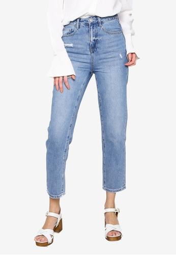 Hopeshow blue Cropped Slim Fit Denim Jeans 49782AA6CFF6C2GS_1