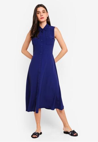 ZALORA 海軍藍色 Pocket Detailed Sleeveless Dress 2AFE9AAD21FB8AGS_1