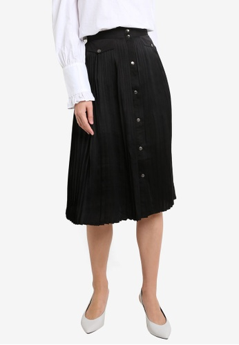 ZALORA black Pleated Button Down Skirt 7A6DEAA76E4DD2GS_1