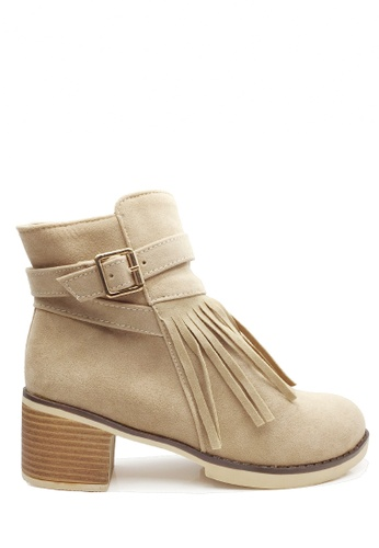 Twenty Eight Shoes beige Tassel Ankle Boots VB205 E110CSHC074E13GS_1