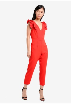 60% OFF Miss Selfridge Petite Ruffle Sleeve Jumpsuit RM 310.40 NOW RM  123.90 Sizes 4 6 8 10 12 94247e18f