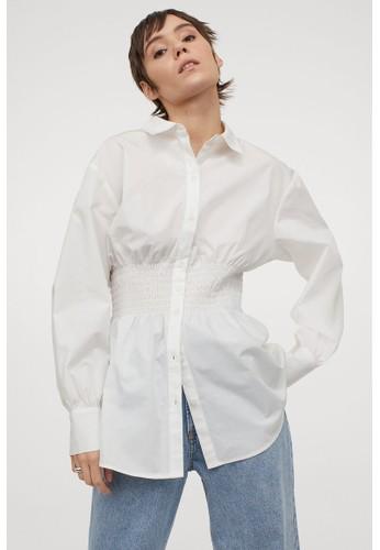 H&M white Wide smock-waist blouse 81CDFAA7982390GS_1