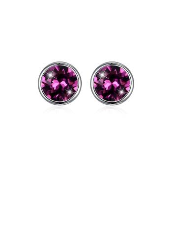 Glamorousky purple 925 Sterling Silver Simple Round Stud Earrings In with Purple Austrian Element Crystal EA86EACE9D8D54GS_1