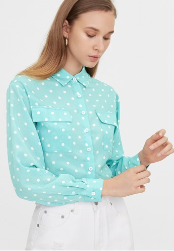 Pomelo blue Polka Dot Double Pockets Shirt - Blue 43F6EAA529F1B4GS_1