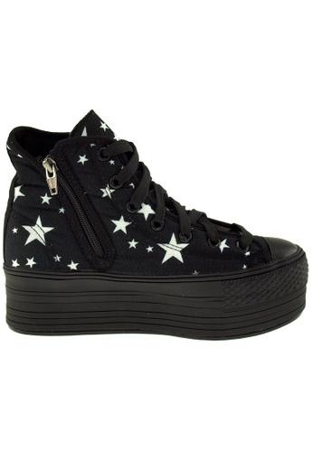 Maxstar black Maxstar Women's C50 7 Holes Zipper Platform Canvas High Top Star Sneakers US Women Size MA164SH49POOSG_1