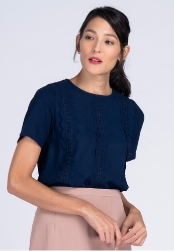 Apple & Eve navy Short Sleeve Plain Blouse with Laser Cut & Lace Trimmings B22E7AAB3E8938GS_1