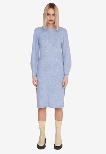 Noisy May blue Emma Long Knitted Dress E500DAA5908920GS_1
