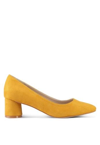 ZALORA 黃色 Round Chunky Low Heels B687ESH0D8D7EBGS_1