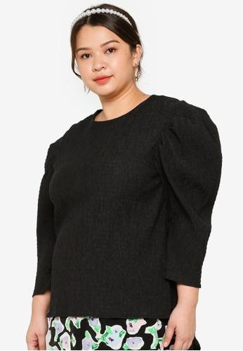 Lubna black Plus Size Gigot Sleeve Top AA6BFAA79576ADGS_1
