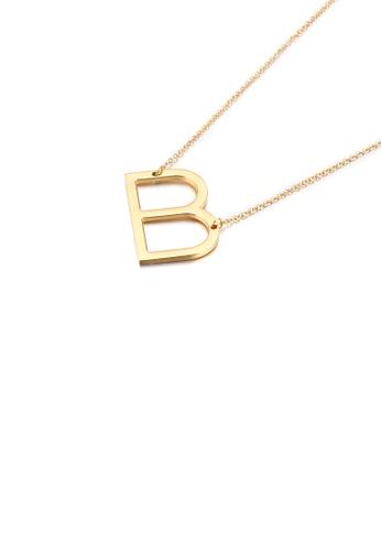 Glamorousky 銀色 簡約時尚鍍金色英文字母B 316L鋼吊墜配項鏈 33956AC198975DGS_1