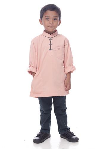 Denai Boutique orange and multi Kurta Miqaeel Junior C2E15KADEF84D3GS_1
