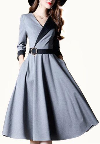 Twenty Eight Shoes grey VANSA Multi Stripes Midi Dress VCW-D60781 2C4F2AAFB3393CGS_1