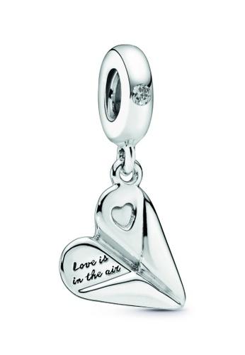 PANDORA silver Pandora Heart Paper Plane Dangle Charm 3C654ACFA0123DGS_1