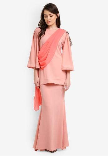 Zuco Fashion orange Chiffon Midi Kurung ZU882AA0RUJPMY_1