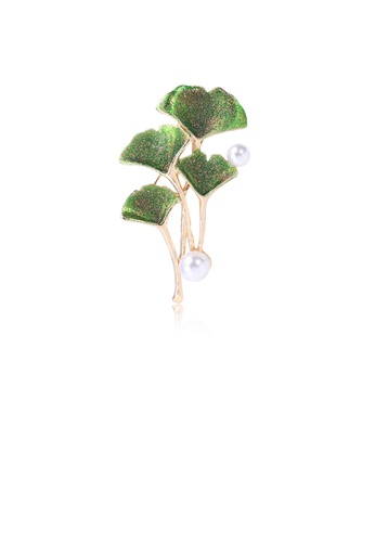 Glamorousky white Simple Temperament Plated Gold Green Ginkgo Leaf Imitation Pearl Brooch 1421AACA22B60FGS_1