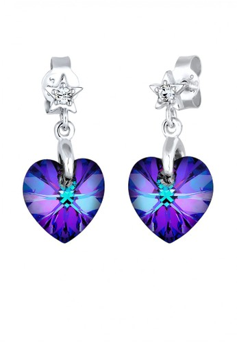 Elli Germany purple Perhiasan Wanita Perak Asli - Silver Anting Heart Star EL948AC75UVGID_1