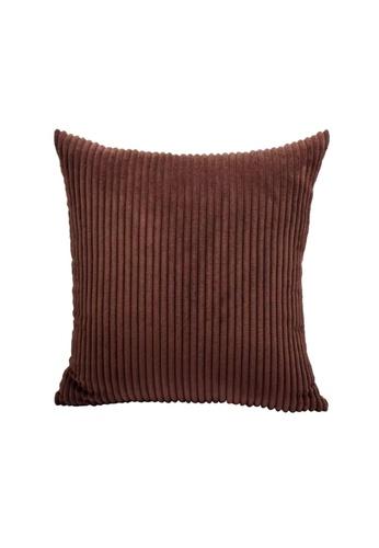 Propstation Stripe Corduroy Velvet Throw Pillow Cushion Cover Brown 11FE7HLE74F97CGS_1