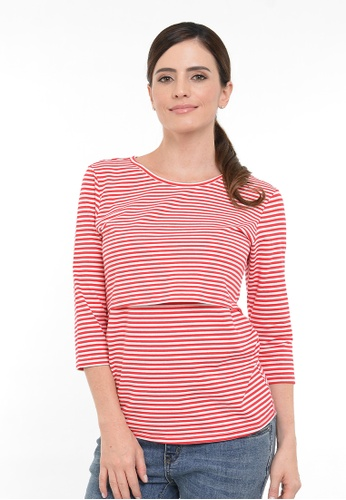 9months Maternity red Red Perfect Fit Round Neck Nursing Top 68304AA4DED0D5GS_1