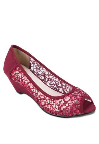 透膚蕾絲露趾楔形跟鞋, 女鞋, zalora 泳衣鞋